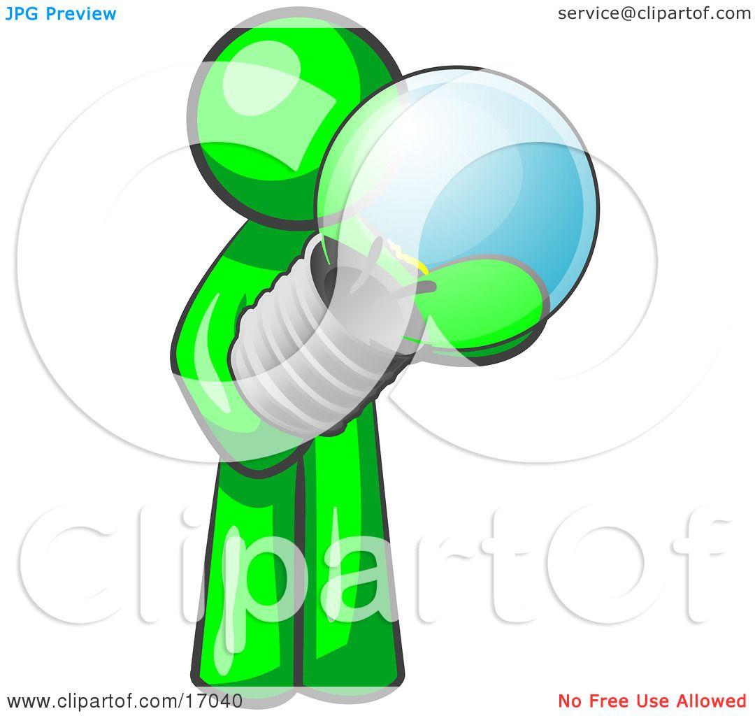 Lime Green Man Holding A Glass Electric Lightbulb