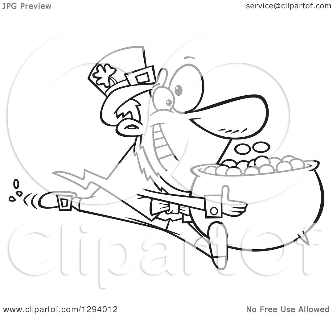 lineart clipart of a black and white cartoon happy leprechaun