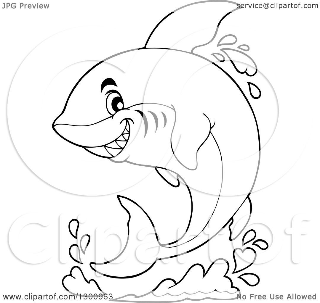 Lineart Clipart of a Black and White Cartoon Shark Jumping