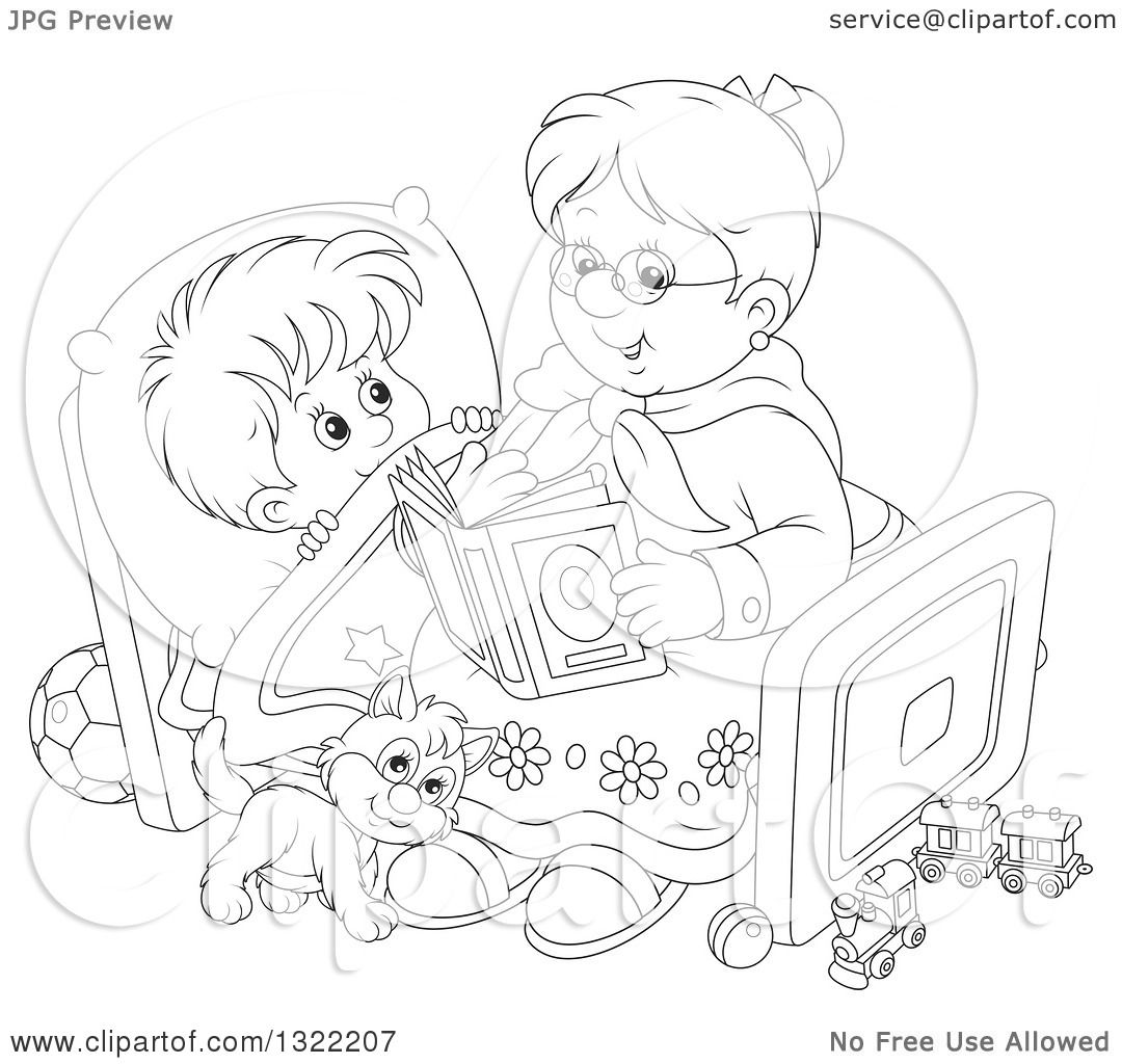 lineart clipart of a black and white cat and boy listening