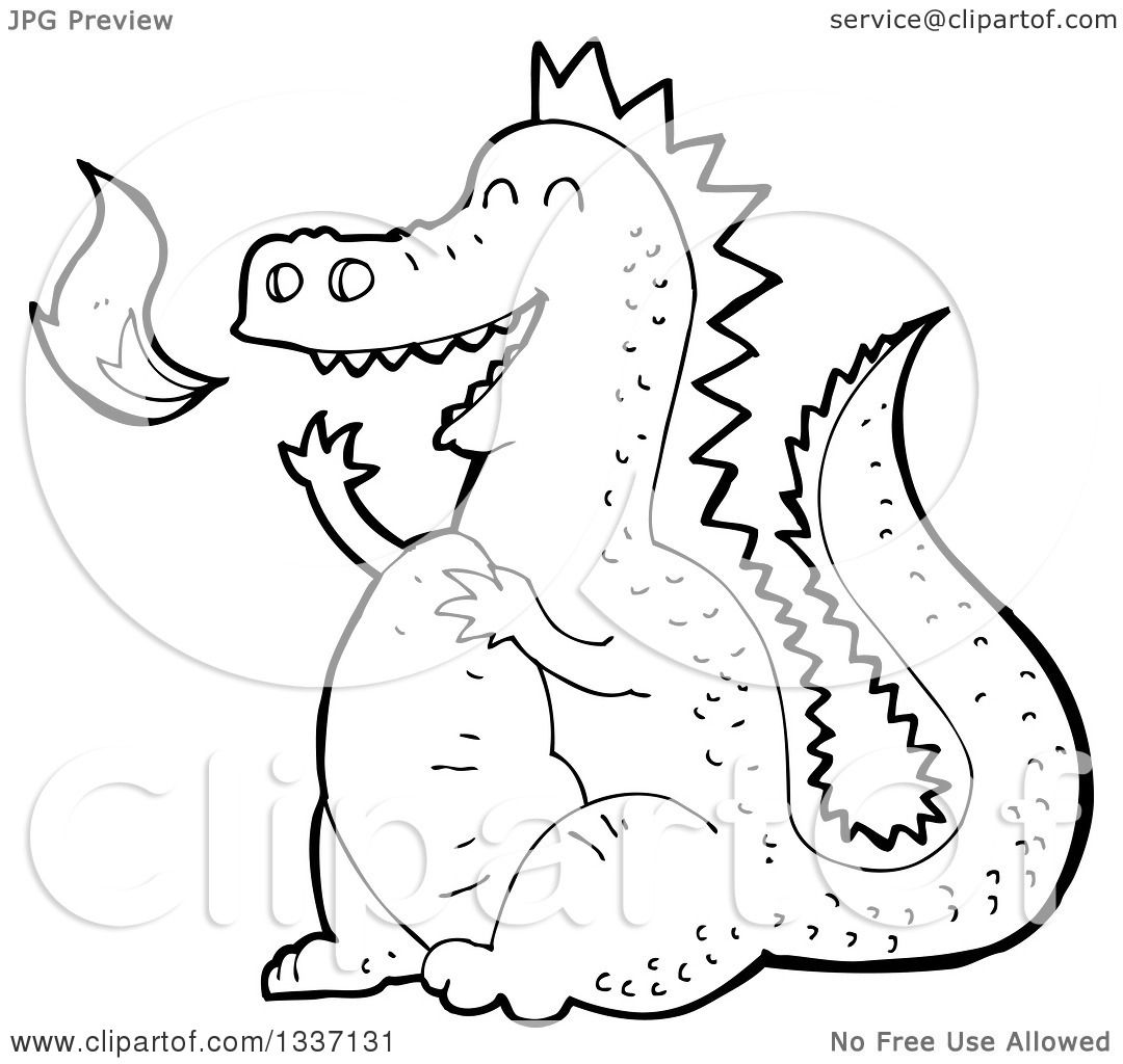 Lineart Clipart Of A Black And White Fire Breathing Dragon Royalty Free  Outline Vector Illustration By