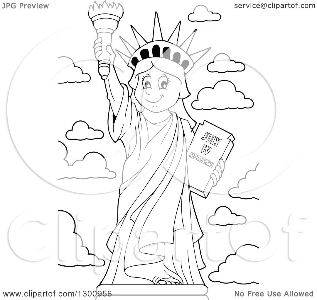 Lineart Clipart Of A Carton Black And White Happy Statue