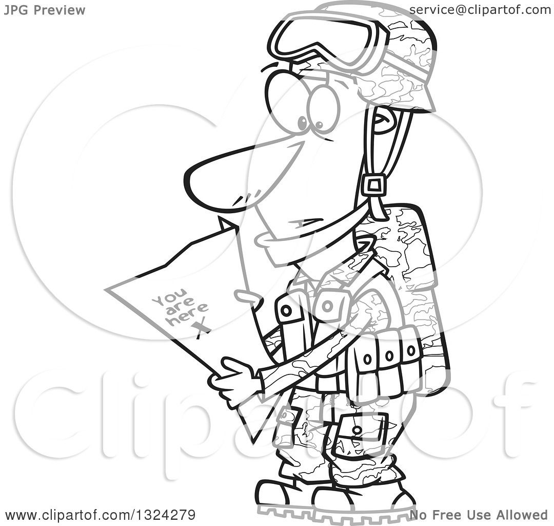 Lineart Clipart of a Cartoon Black and White Army Soldier ...