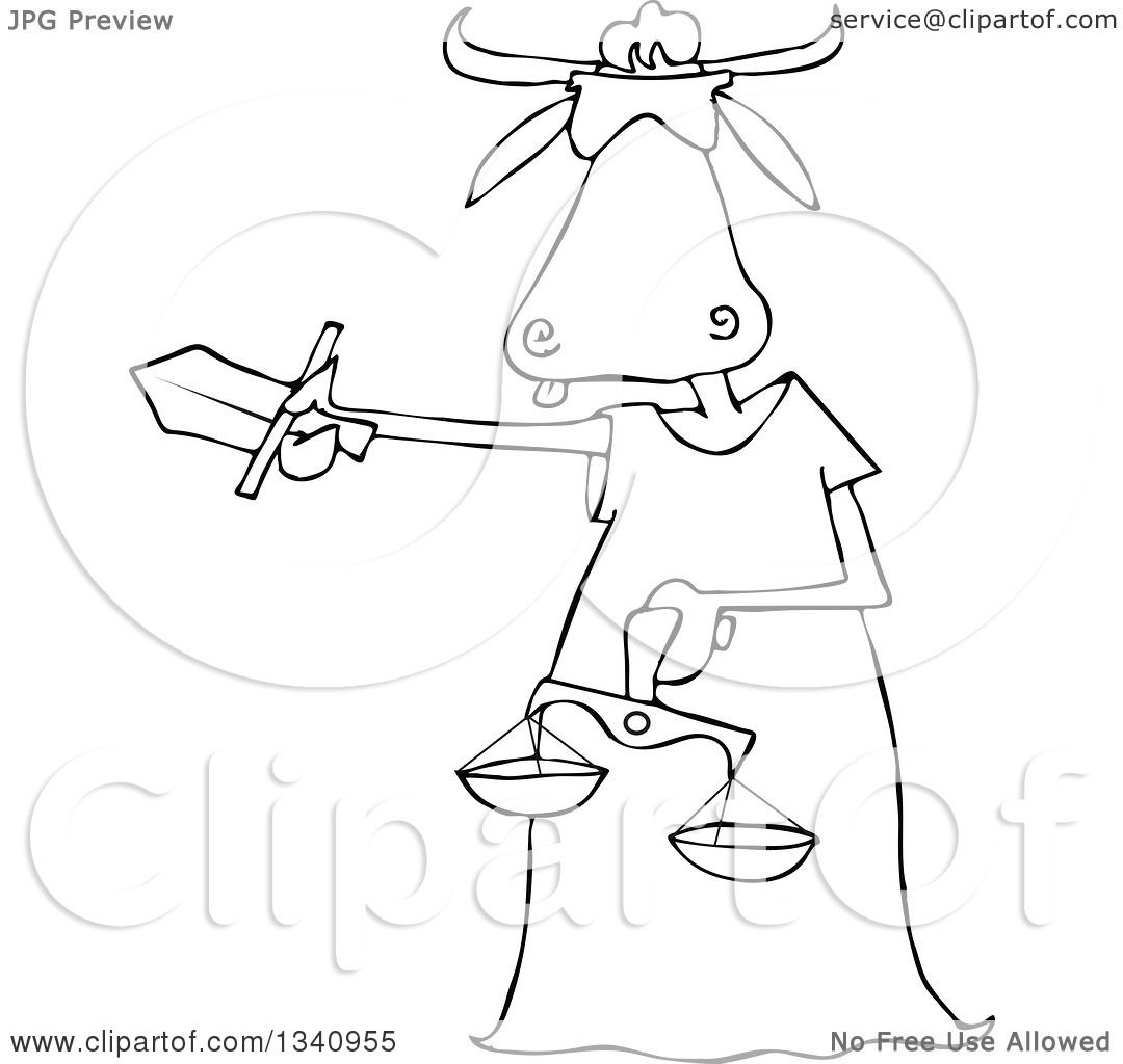 lineart clipart of a cartoon black and white blindfolded lady