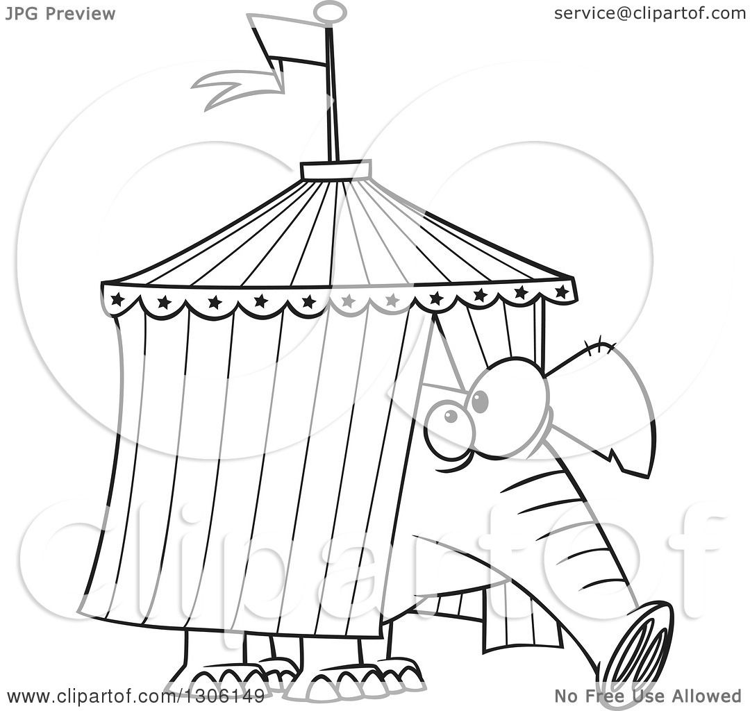 Lineart Clipart Of A Cartoon Black And White Circus -2304