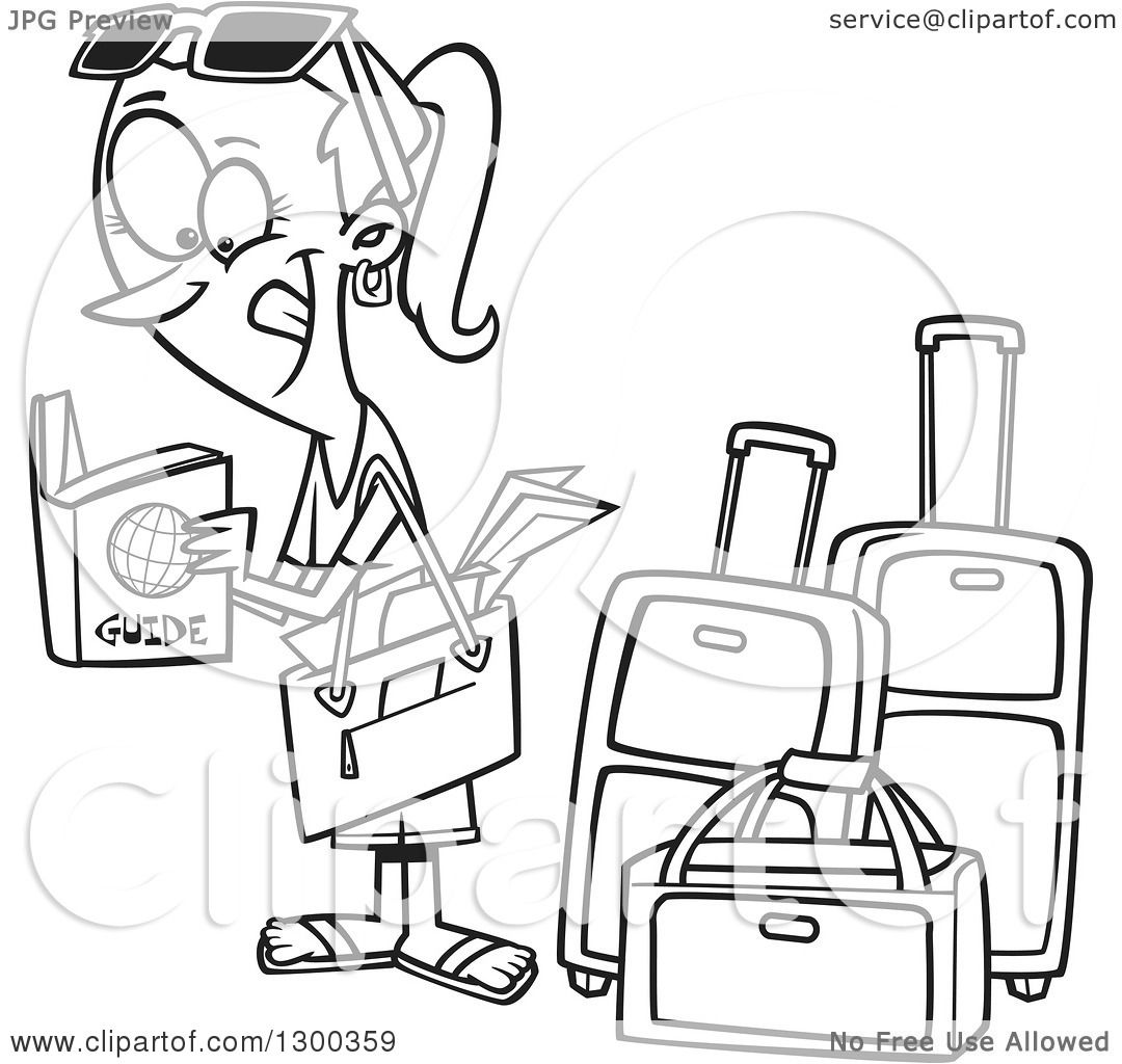 Lineart Clipart Of A Cartoon Black And White Excited