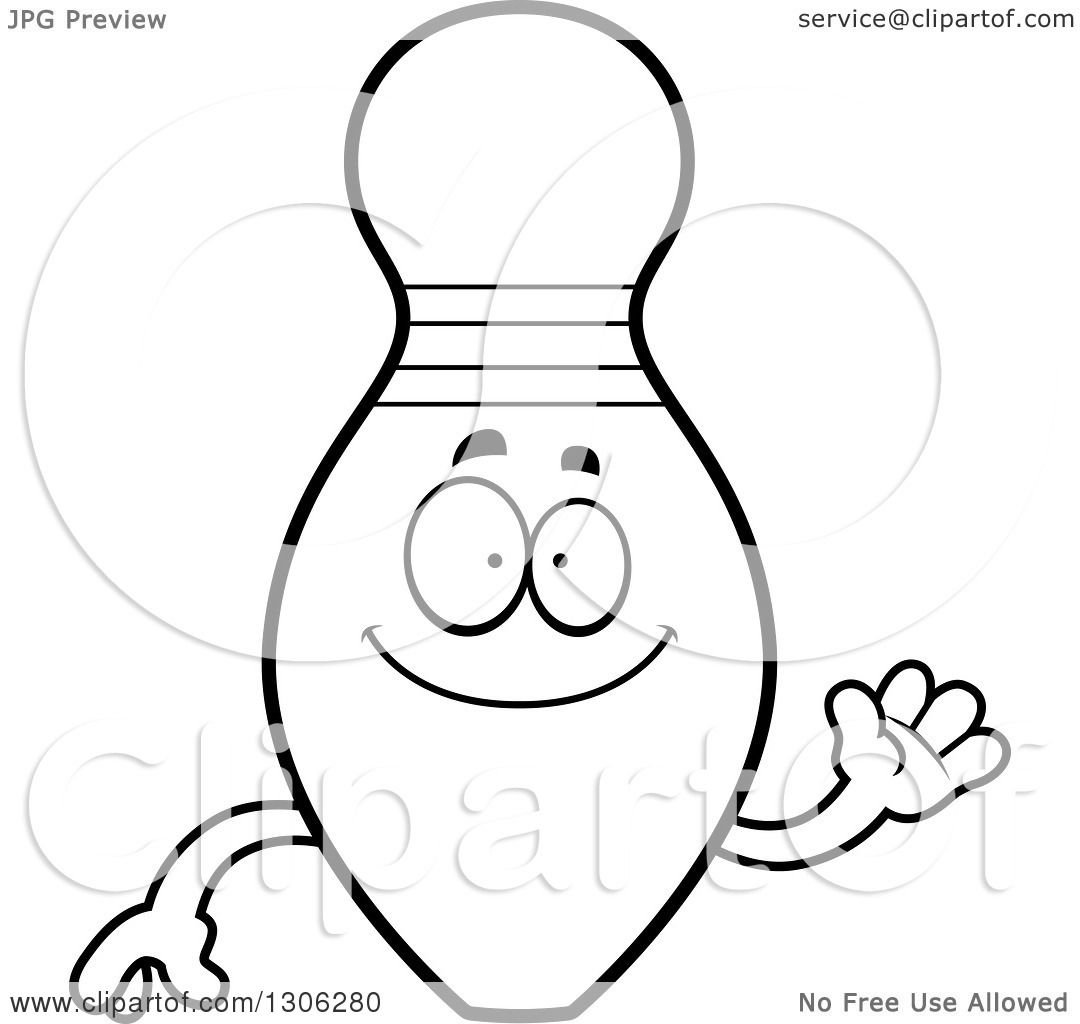 lineart clipart of a cartoon black and white friendly bowling pin