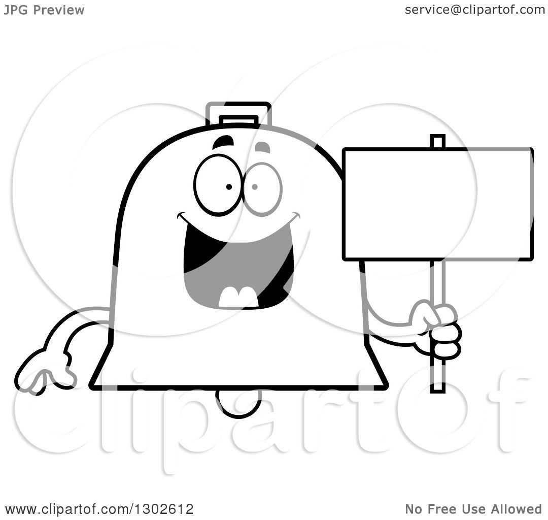 lineart clipart of a cartoon black and white happy bell character