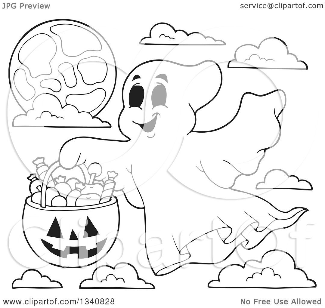 Lineart Clipart of a Cartoon Black and White Happy ...