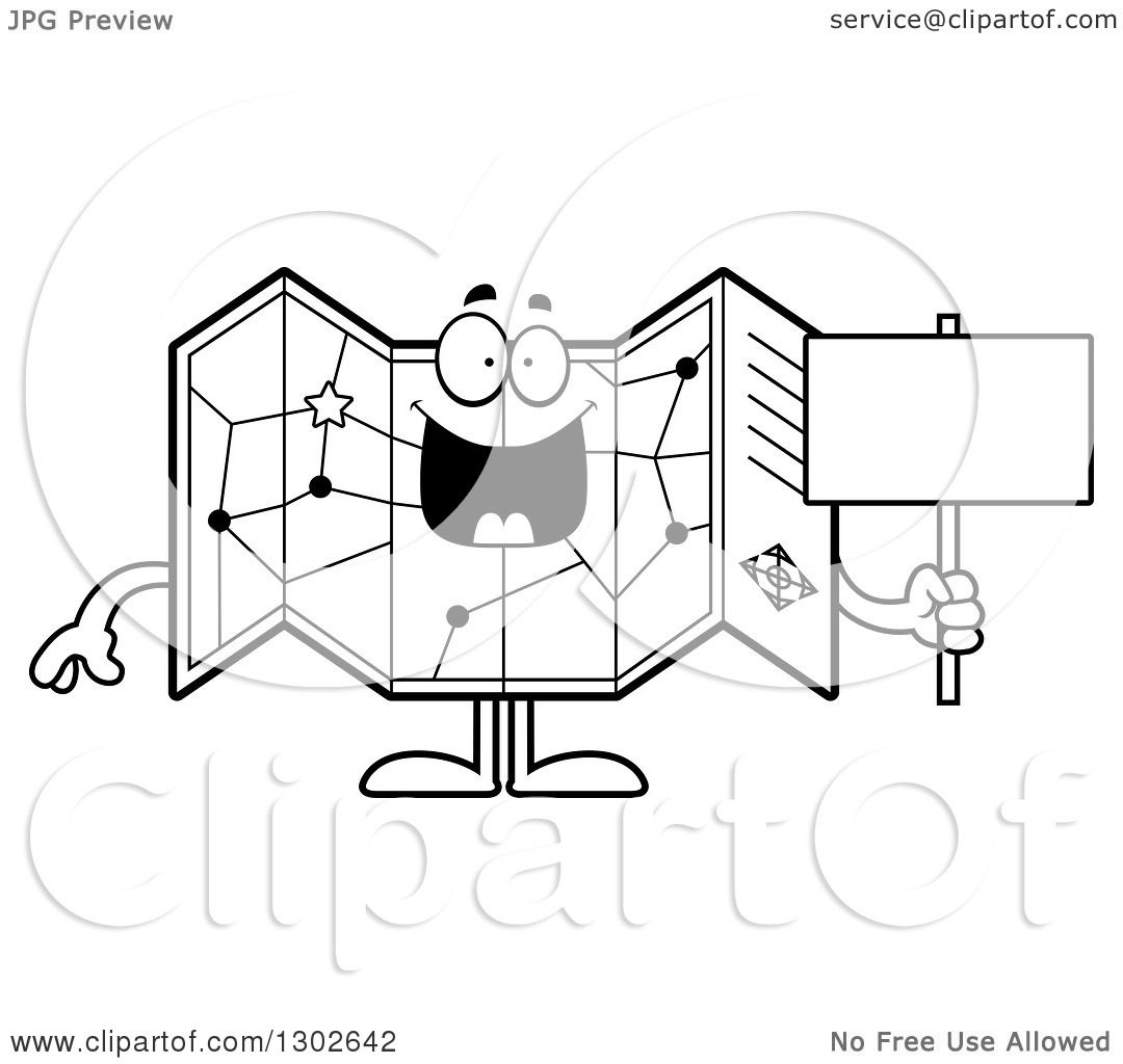 Lineart Clipart Of A Cartoon Black And White Happy Road Map Atlas Character  Holding A Blank Sign   Royalty Free Outline Vector Illustration By Cory  Thoman  Blank Road Map