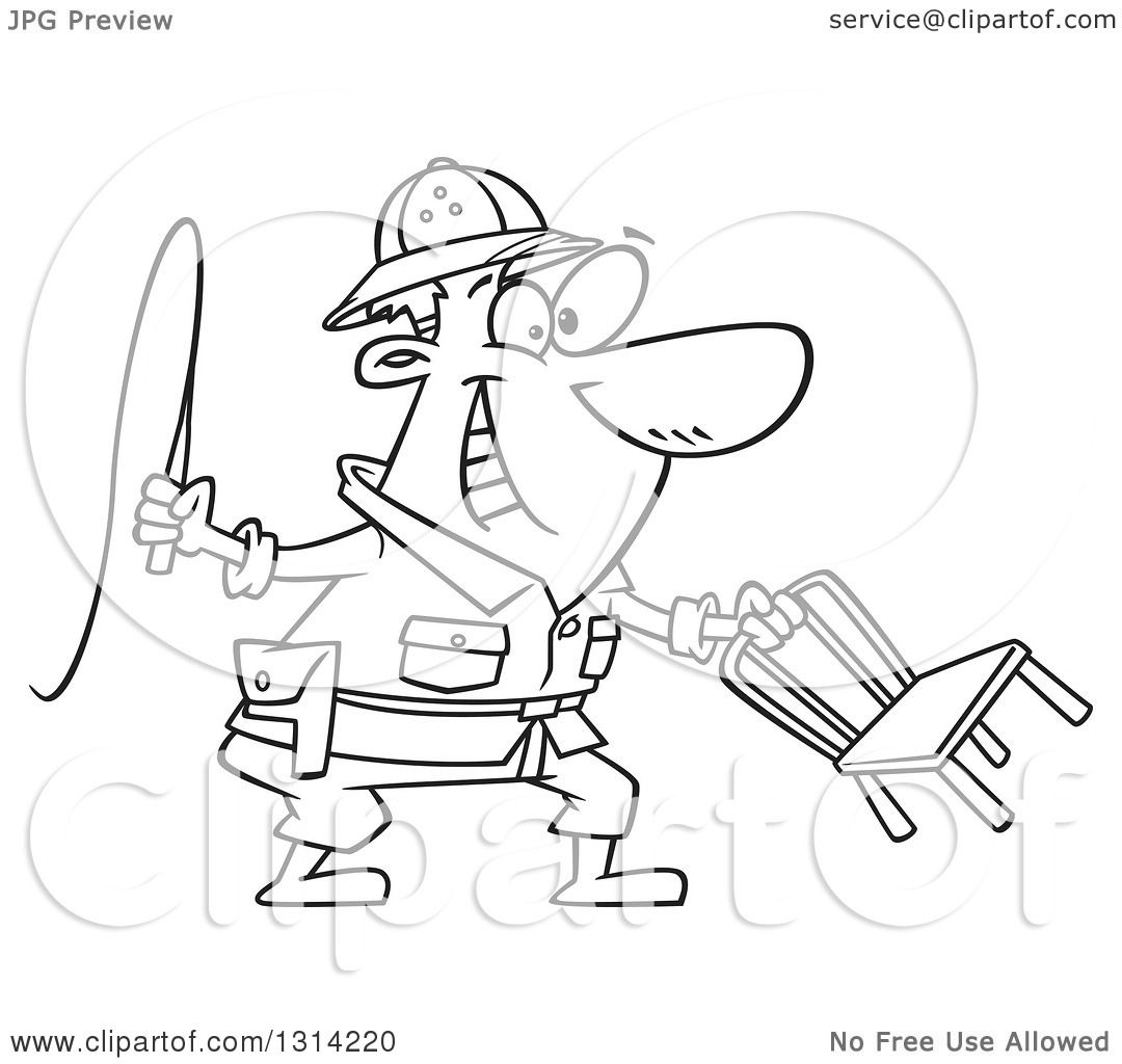 lineart clipart of a cartoon black and white lion tamer man holding a whip and chair royalty free outline vector illustration by toonaday