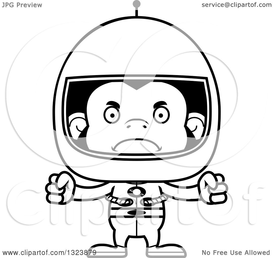 Lineart Clipart of a Cartoon Black and White Mad ...