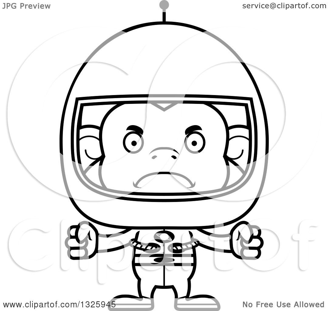 Lineart Clipart of a Cartoon Black and White Mad Monkey ...