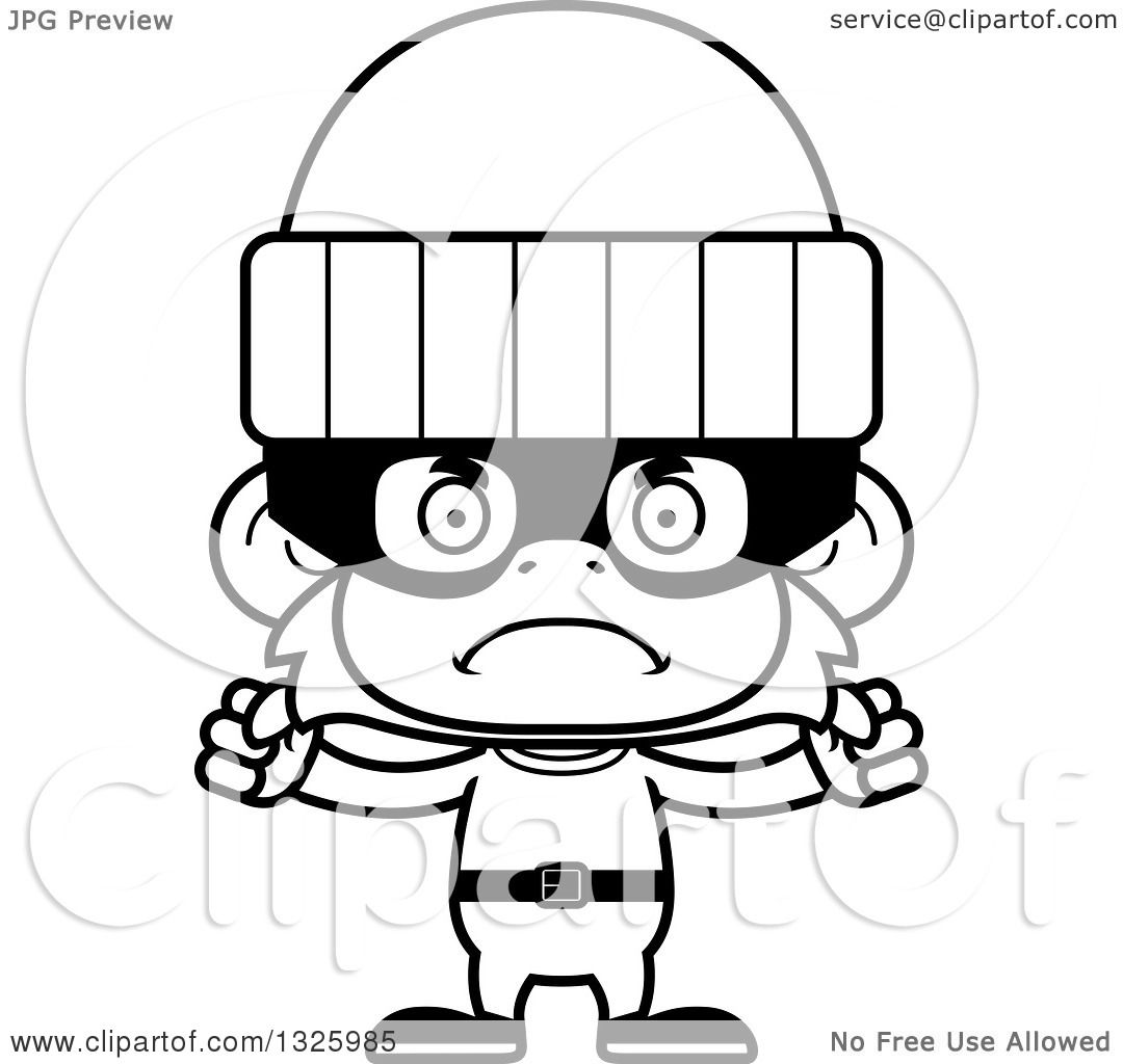 Lineart Clipart Of A Cartoon Black And White Mad Monkey