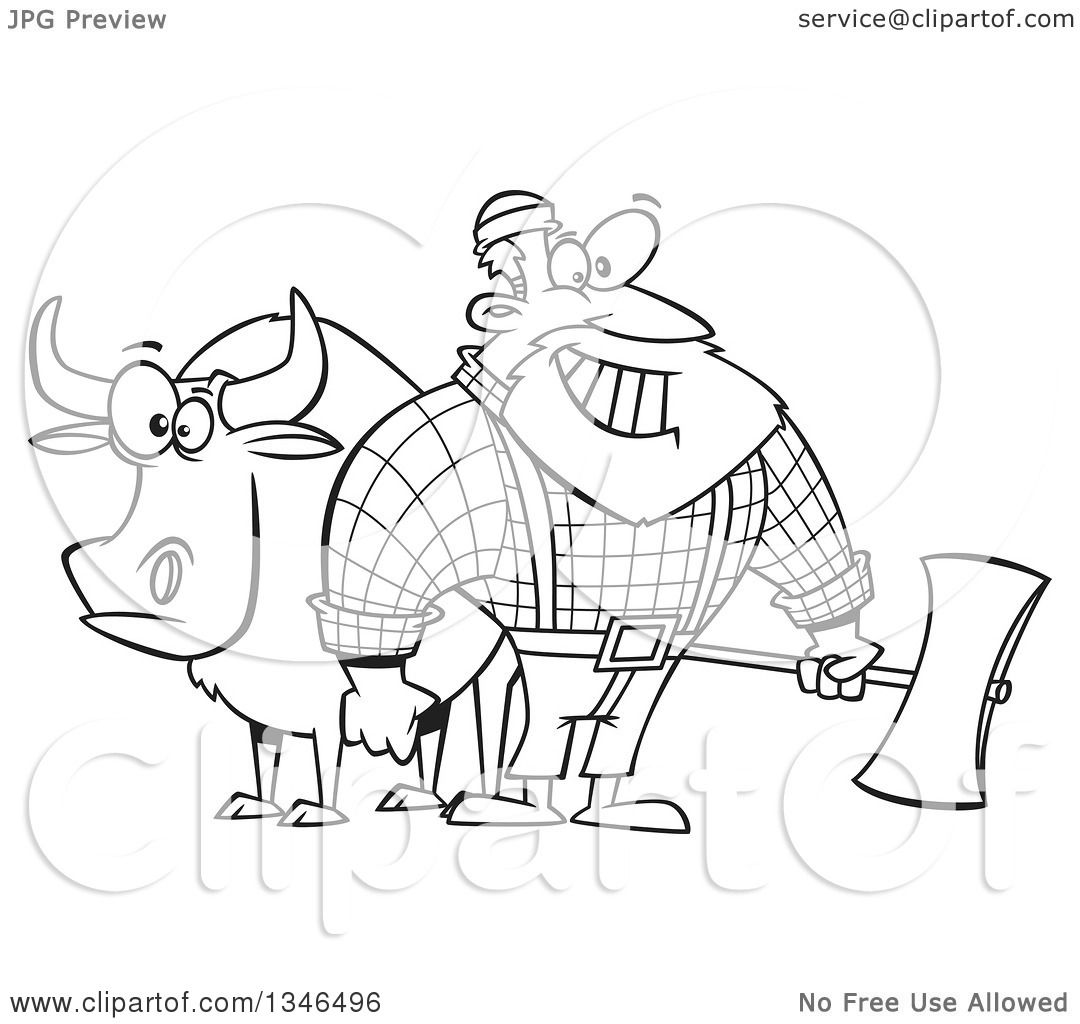 Uncategorized Paul Bunyan Coloring Page lineart clipart of a cartoon black and white paul bunyan lumberjack holding an axe by babe the blue ox royalty free outline vector illus
