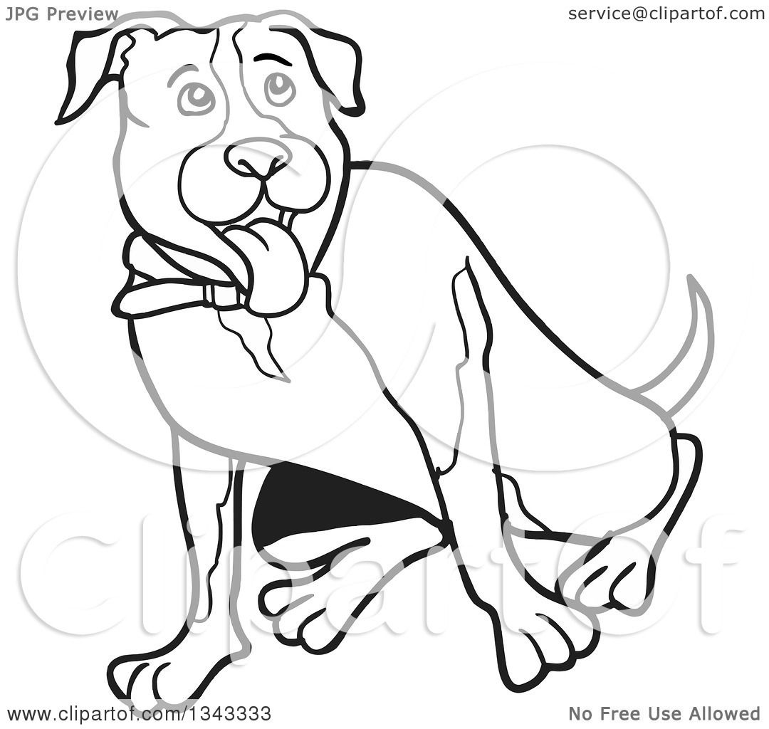 Lineart Clipart of a Cartoon Black and White Pitbull Dog ...