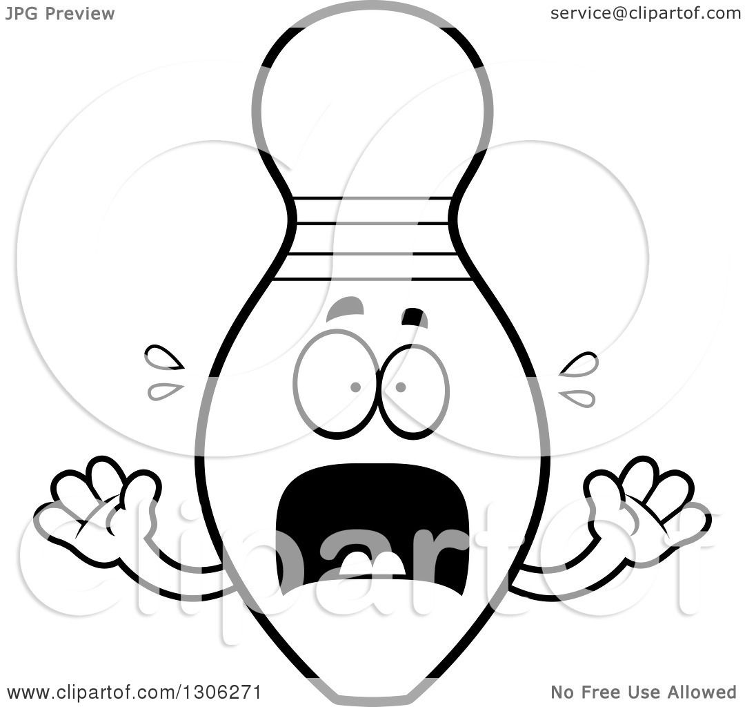 lineart clipart of a cartoon black and white scared bowling pin