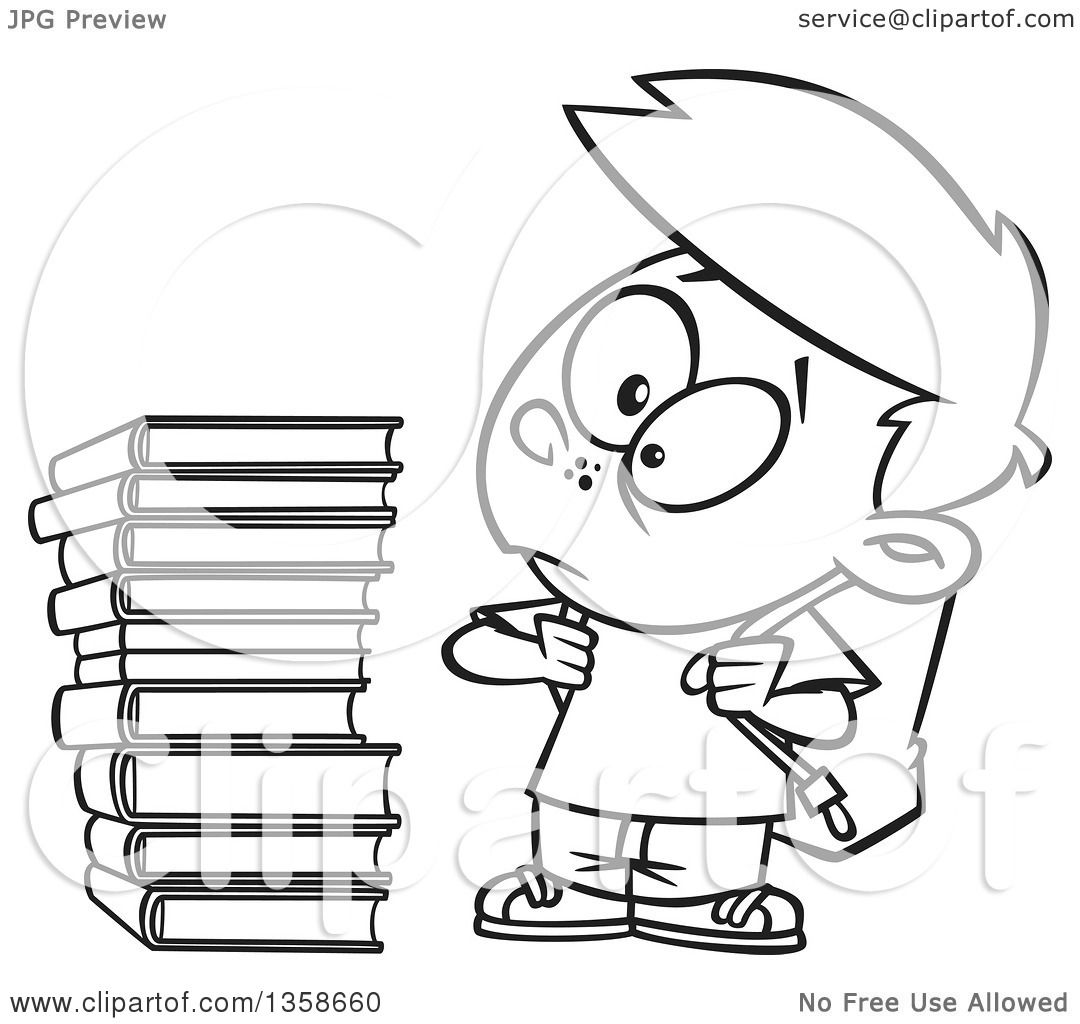 Lineart Clipart Of A Cartoon Black And White School Boy Glaring At Stack Books