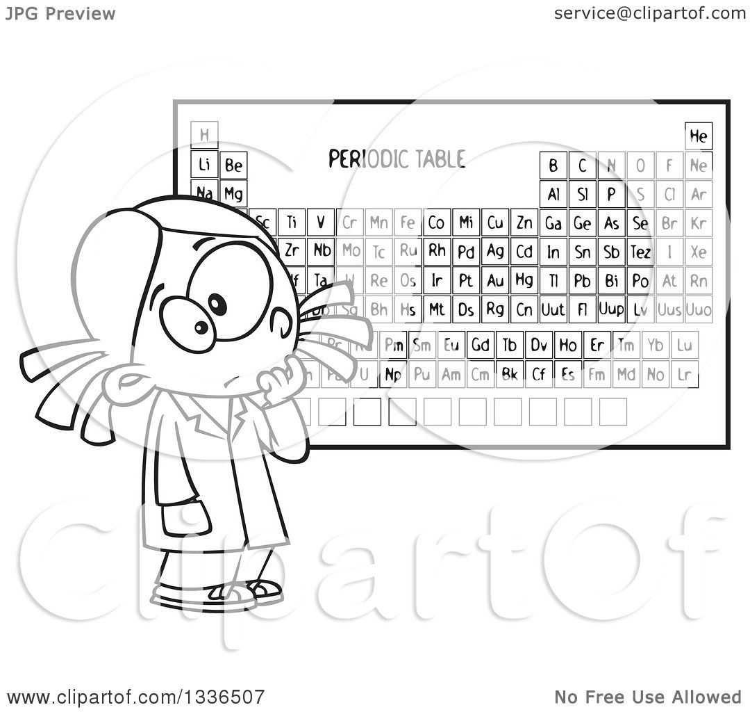 Lineart clipart of a cartoon black and white school girl studying lineart clipart of a cartoon black and white school girl studying the periodic table of elements royalty free outline vector illustration by toonaday gamestrikefo Choice Image