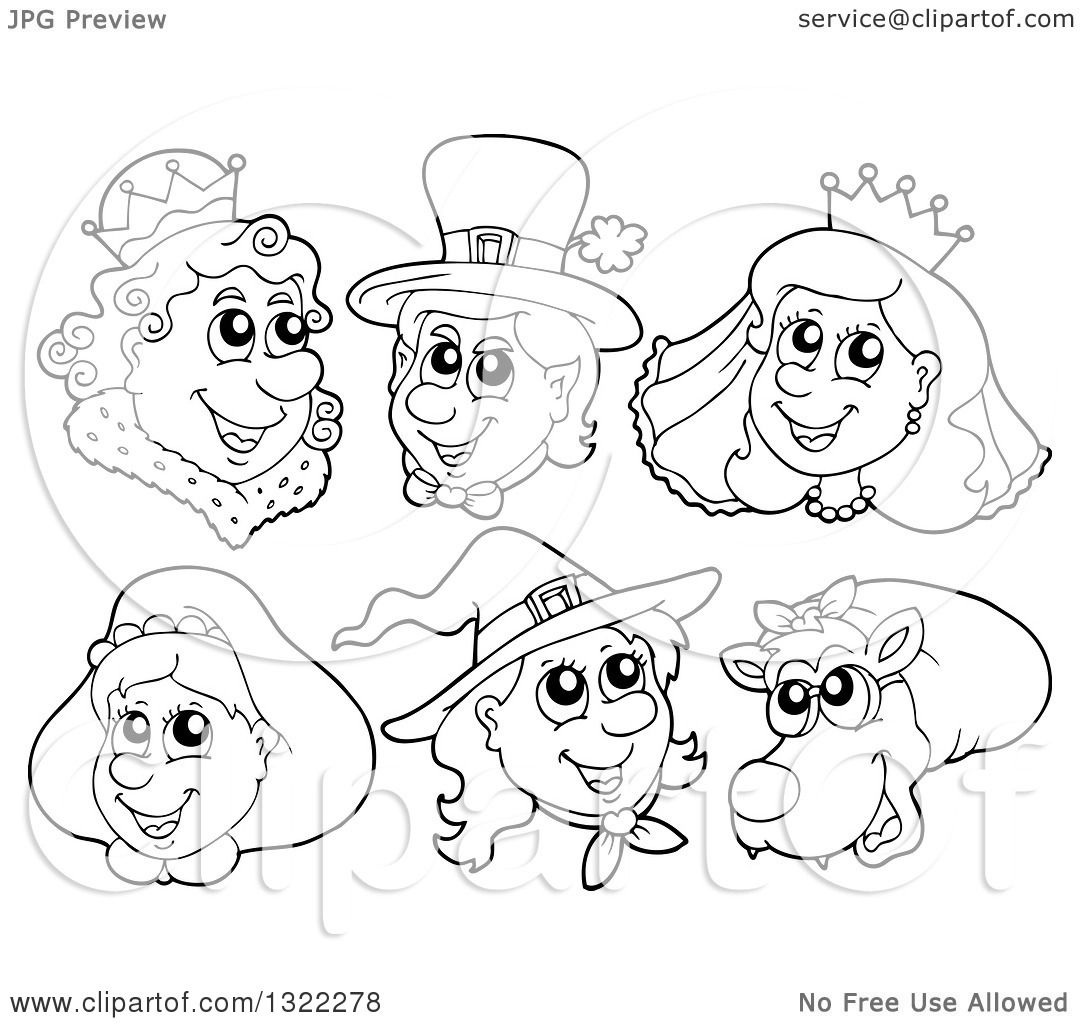 lineart clipart of black and white fairy tale characters royalty