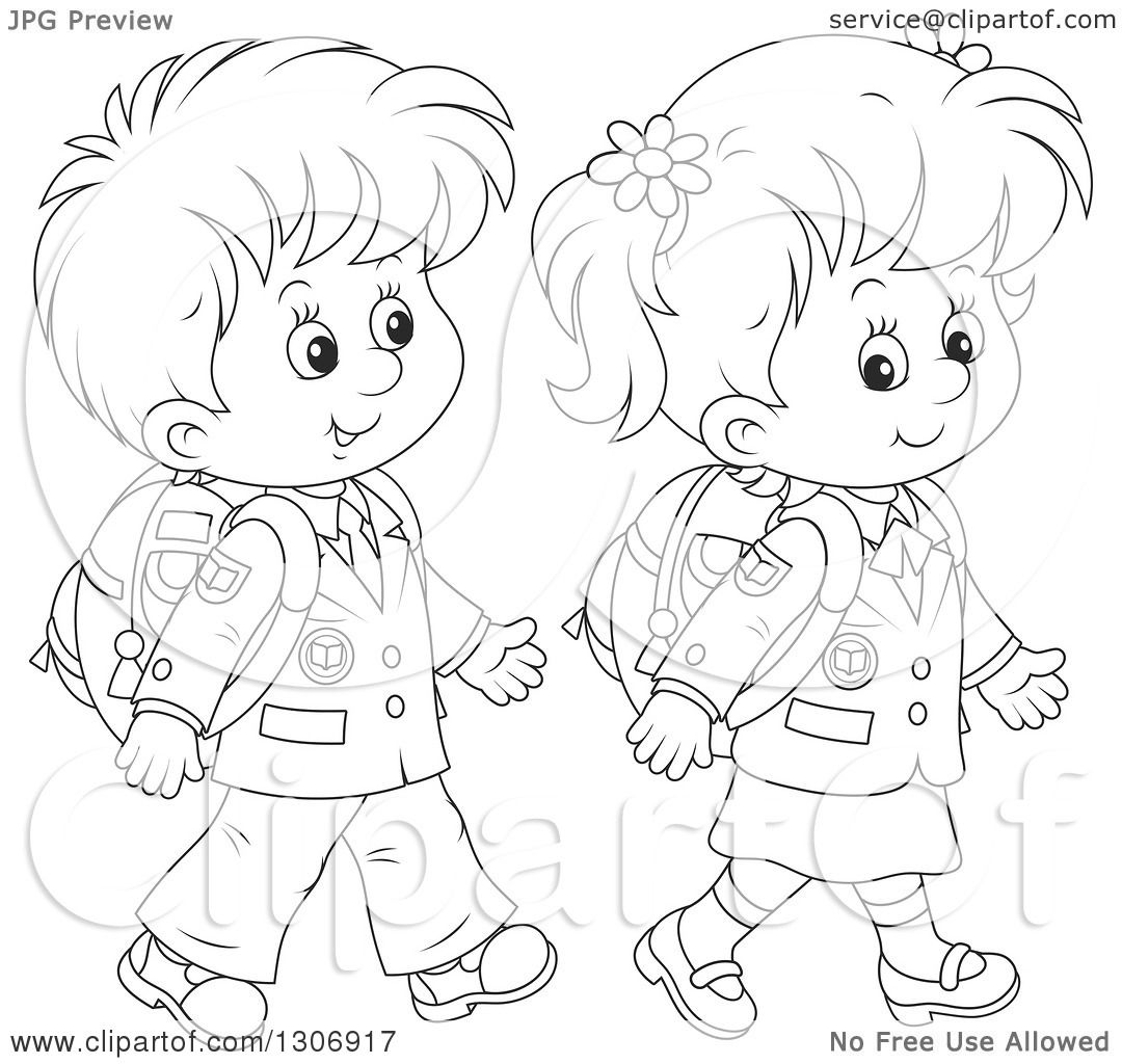 Lineart Clipart of Cartoon Black and White Happy School ...