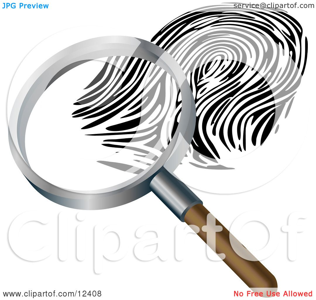Magnifying Glass Inspecting a Fingerprint Clipart Illustration by ...