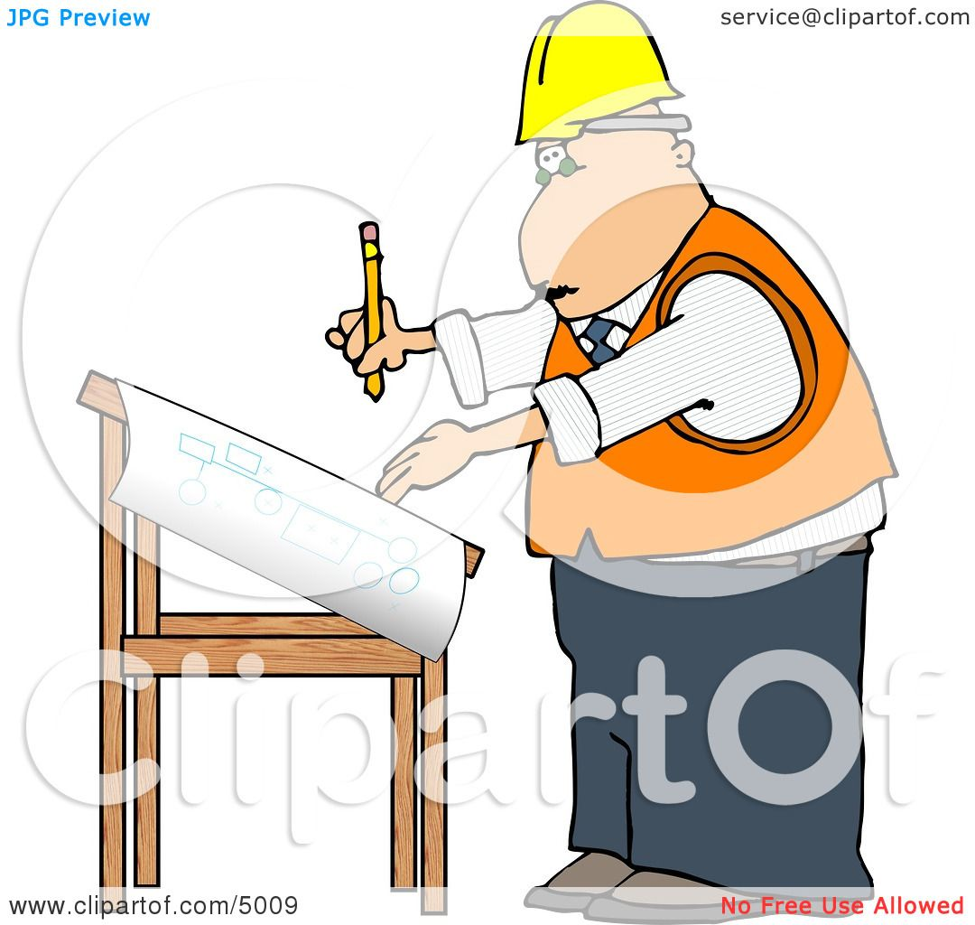 Royalty free rf construction clipart illustrations vector male architectural engineer writing on a blueprint with a pencil clipart malvernweather Images