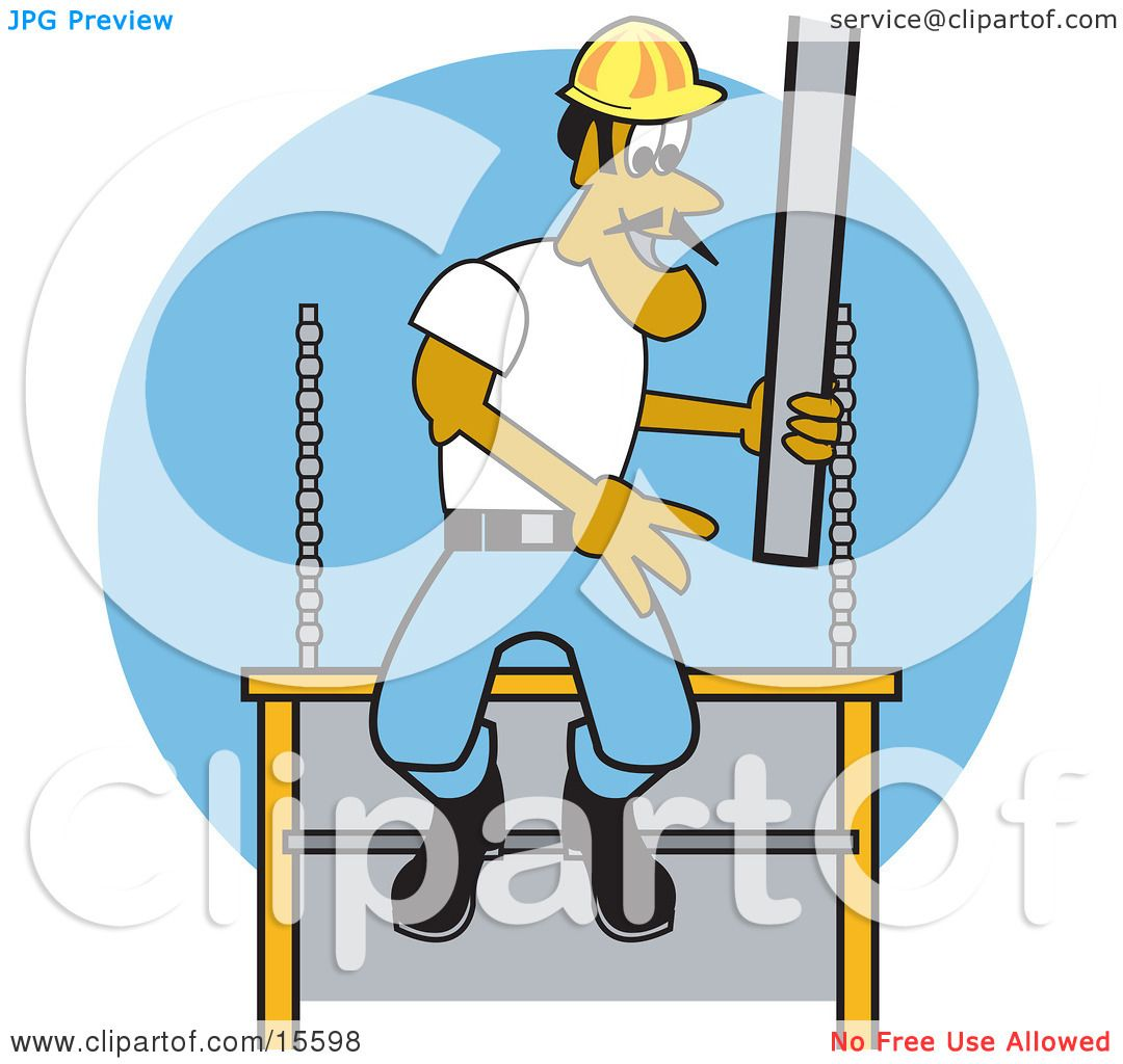 Masonry Business Clip Art : Male construction worker laying concrete slabs and wearing