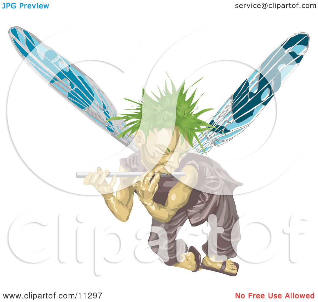 Male Fairy With Green Hair And Blue Wings Flying And