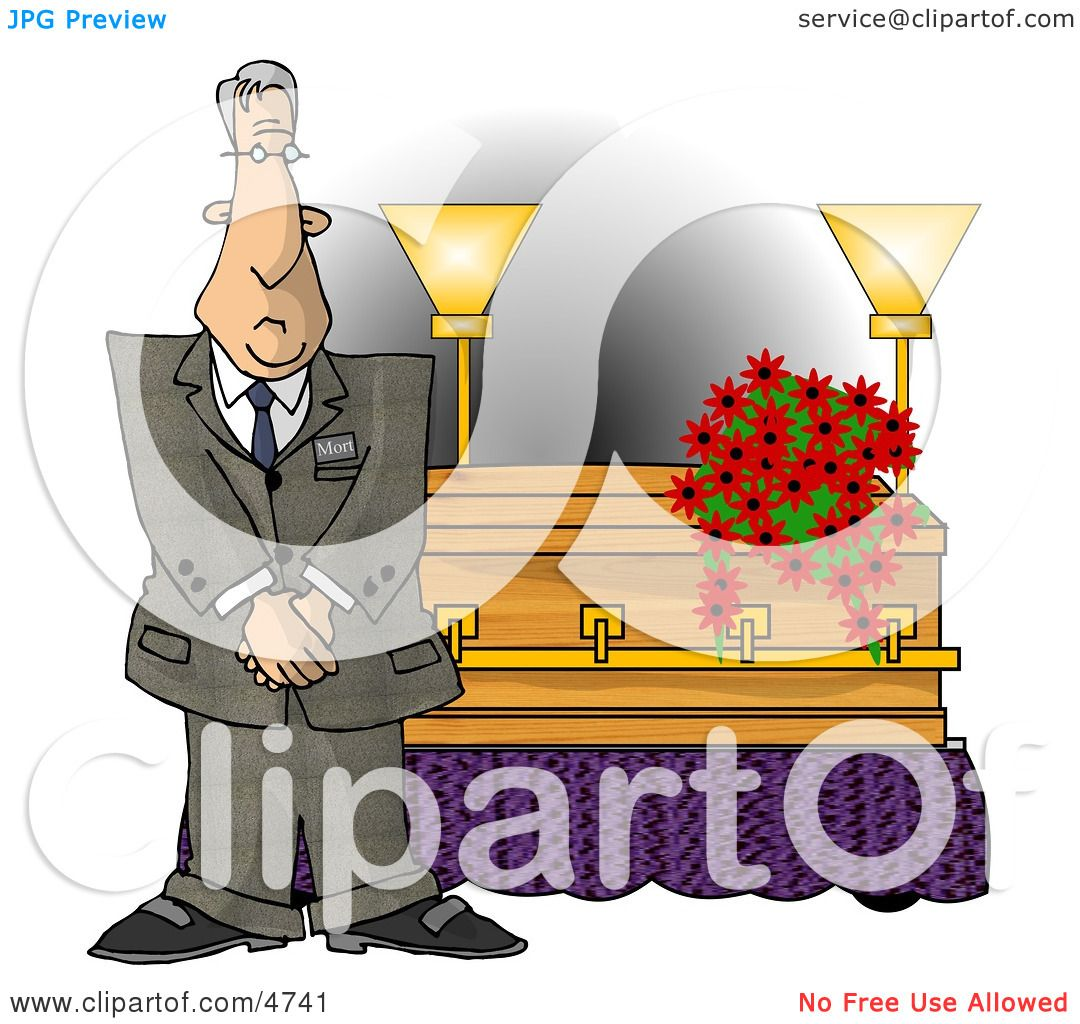 Male Funeral Director Standing Beside a Casket Clipart by ...