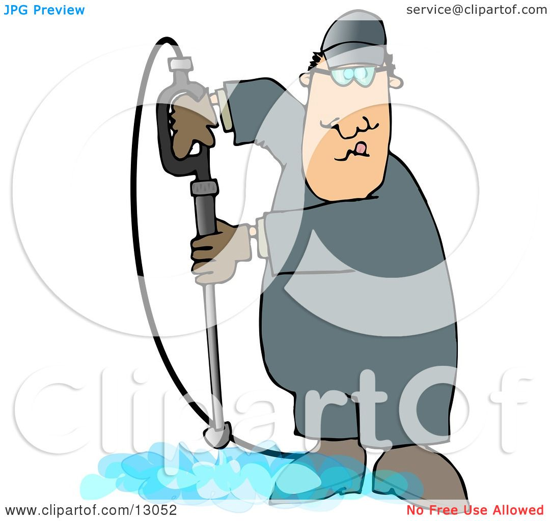 Man Cleaning a Floor With a Pressure Washer Clipart ...