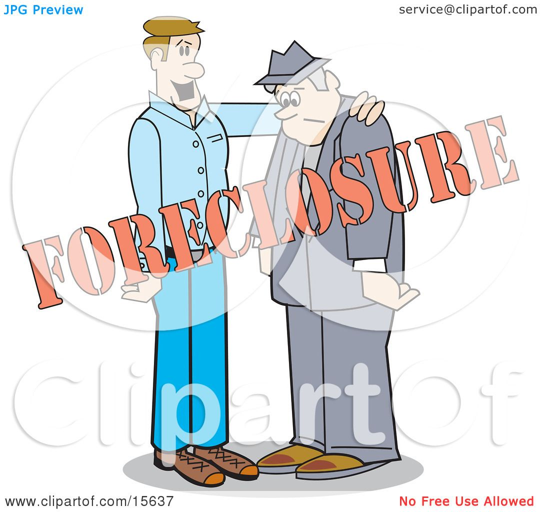 Man Comforting Another By Patting Him On The Back While Going Through A Foreclosure ...