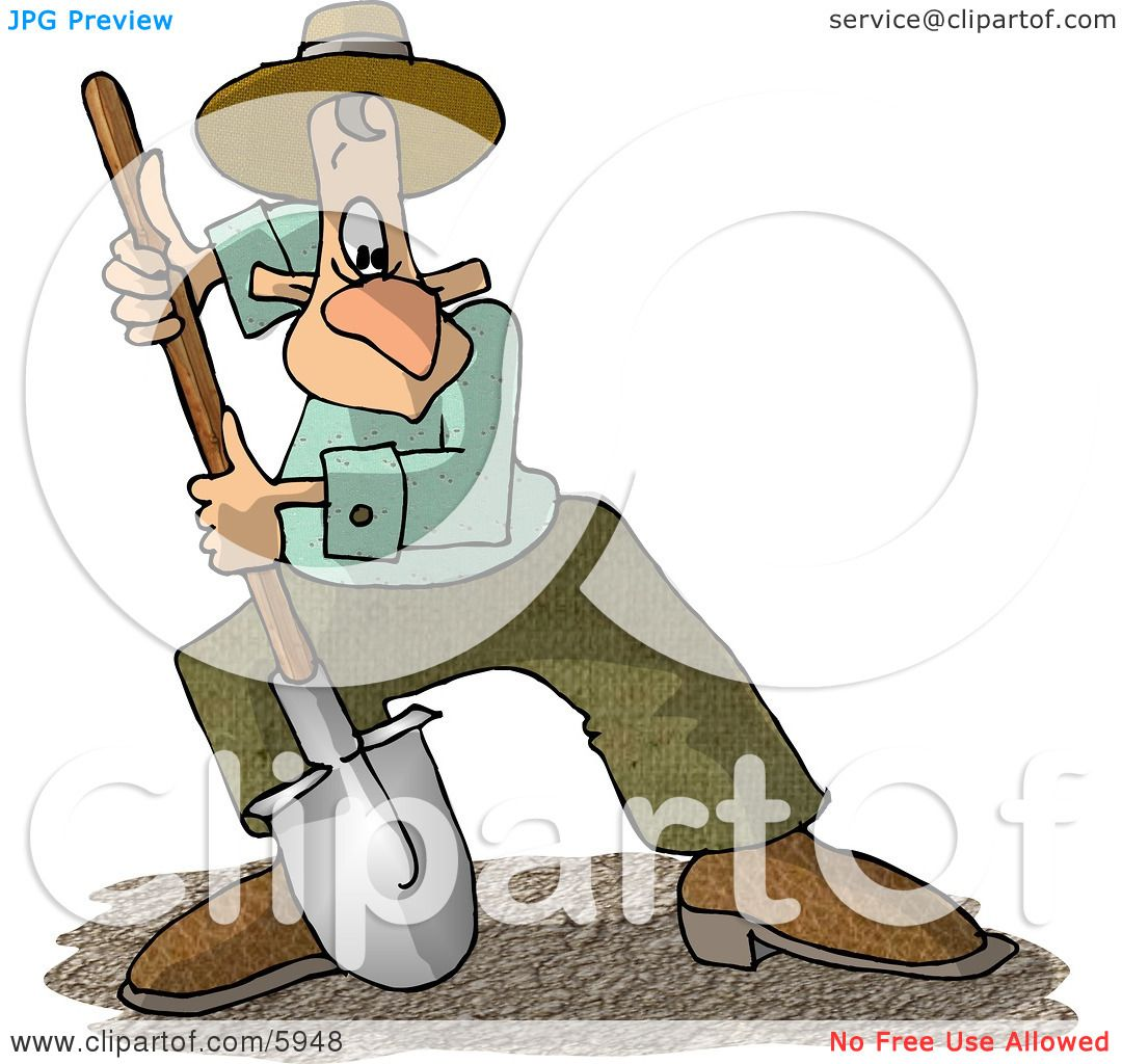 Man Digging Dirt with a Round Point Shovel Clipart Picture ...