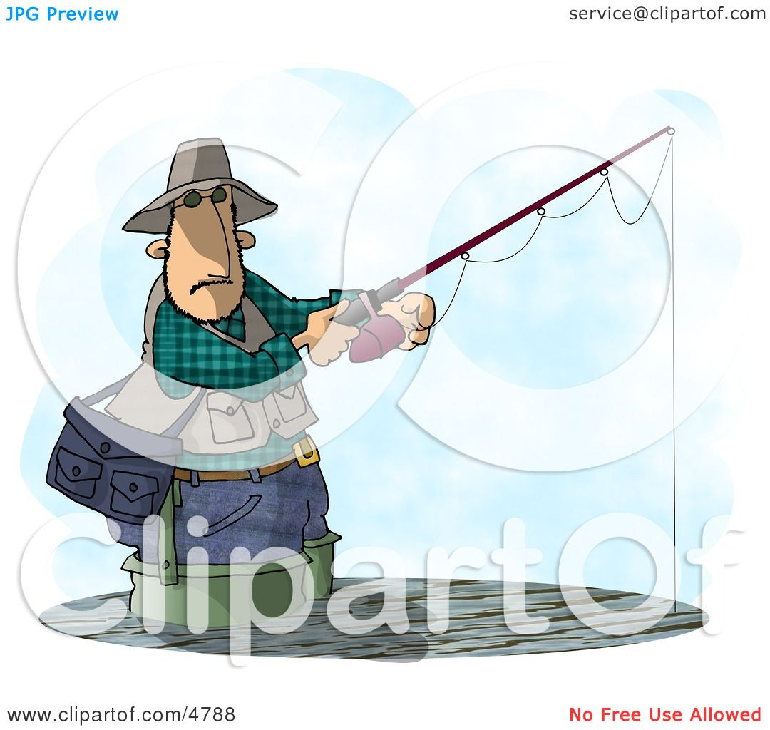 Man Fishing In a Lake with a Standard Rod and Reel Fishing ...