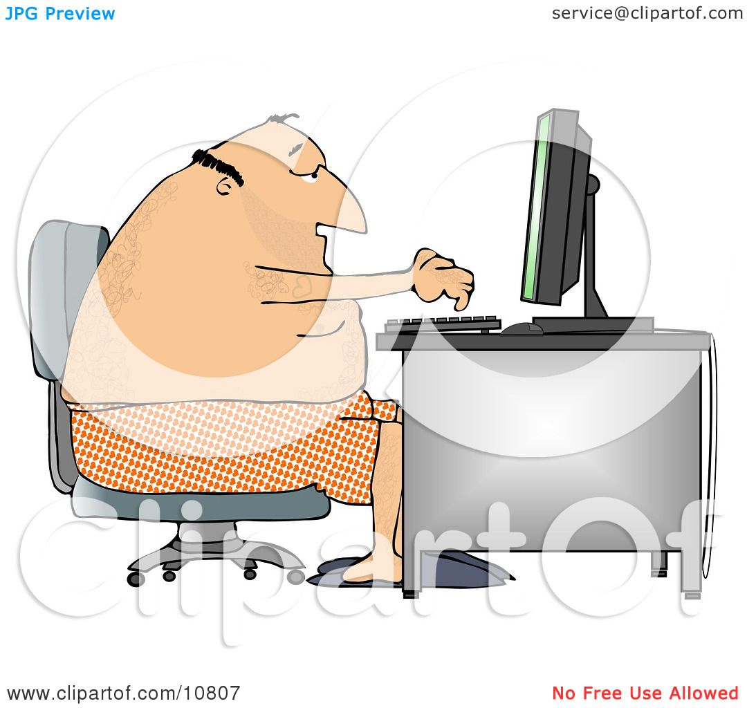 Man in His Boxers and Slippers, Typing on a Computer at a Desk ...