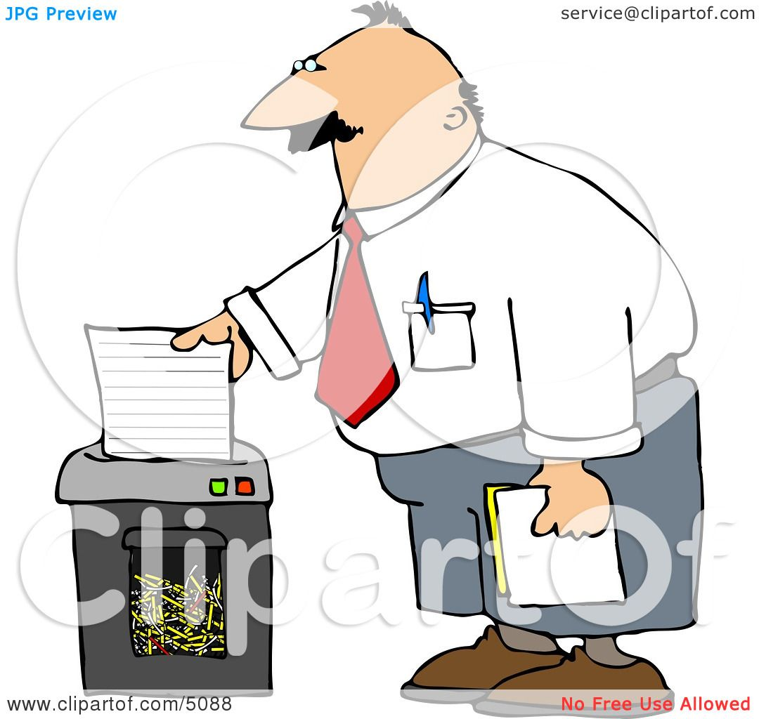 Man Shredding Confidential Papers Clipart By Djart 5088