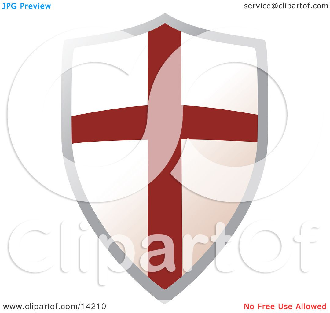 Metal Shield With A Cross Clipart Illustration By