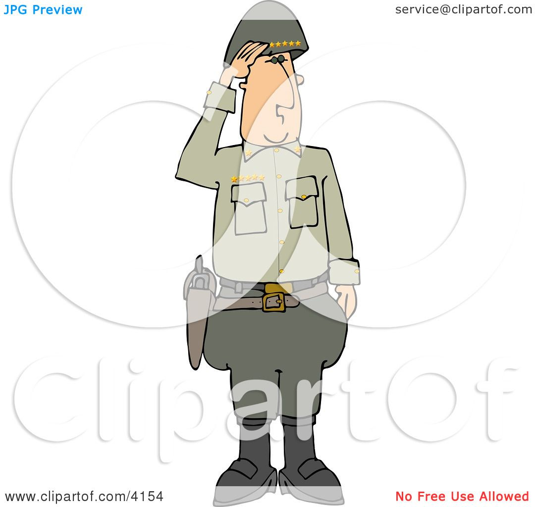 Military 5 Star General Saluting Clipart by djart #4154
