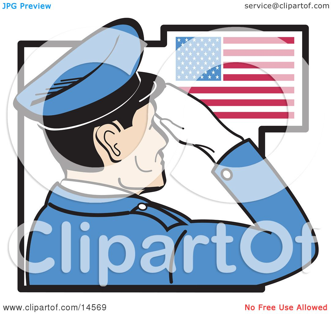 Military Man In Blue Saluting The American Flag On The
