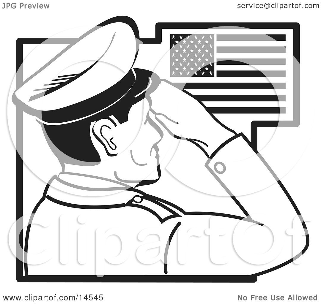 May The 4th Be With You Coloring Page: Military Man Saluting The American Flag On The Fourth Of
