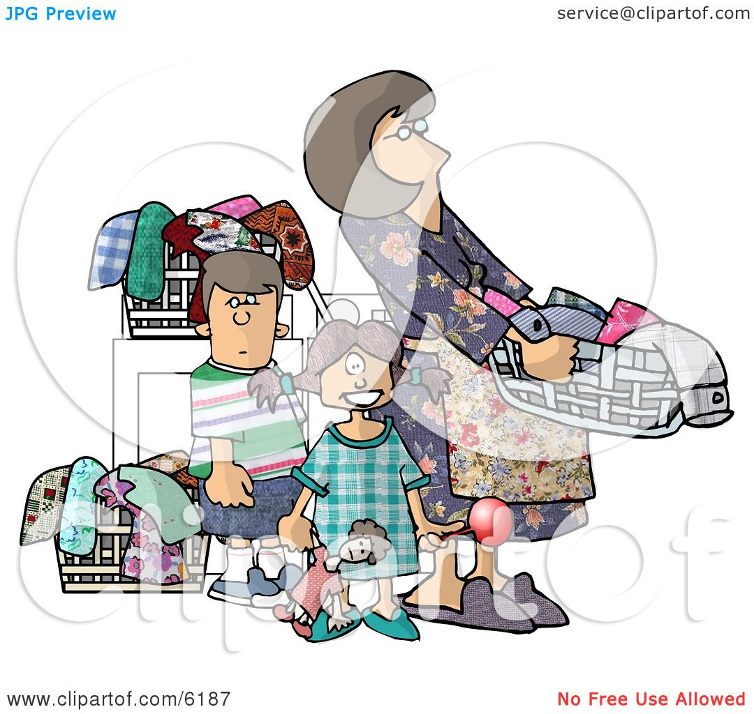 kids laundry clipart. mom doing laundry with her kids clipart picture by djart