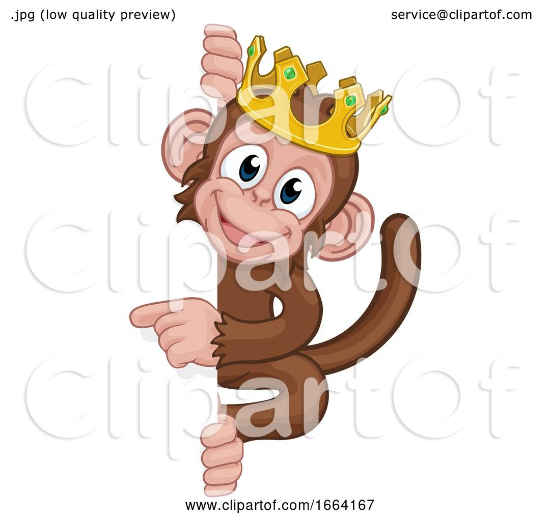 Monkey King Crown Cartoon Animal Pointing At Sign By Atstockillustration 1664167 Download 1,478 monkey cartoon free vectors. monkey king crown cartoon animal