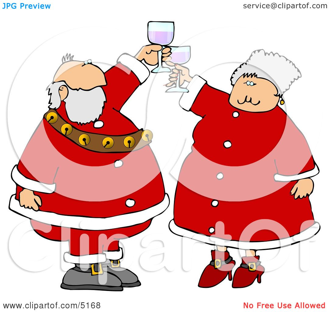Mr. And Mrs. Claus Toasting Wine Glasses Together Clipart by ...