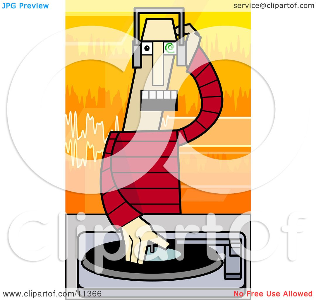 Music Disc Jockey Mixing Records on a Turntable Clipart ...