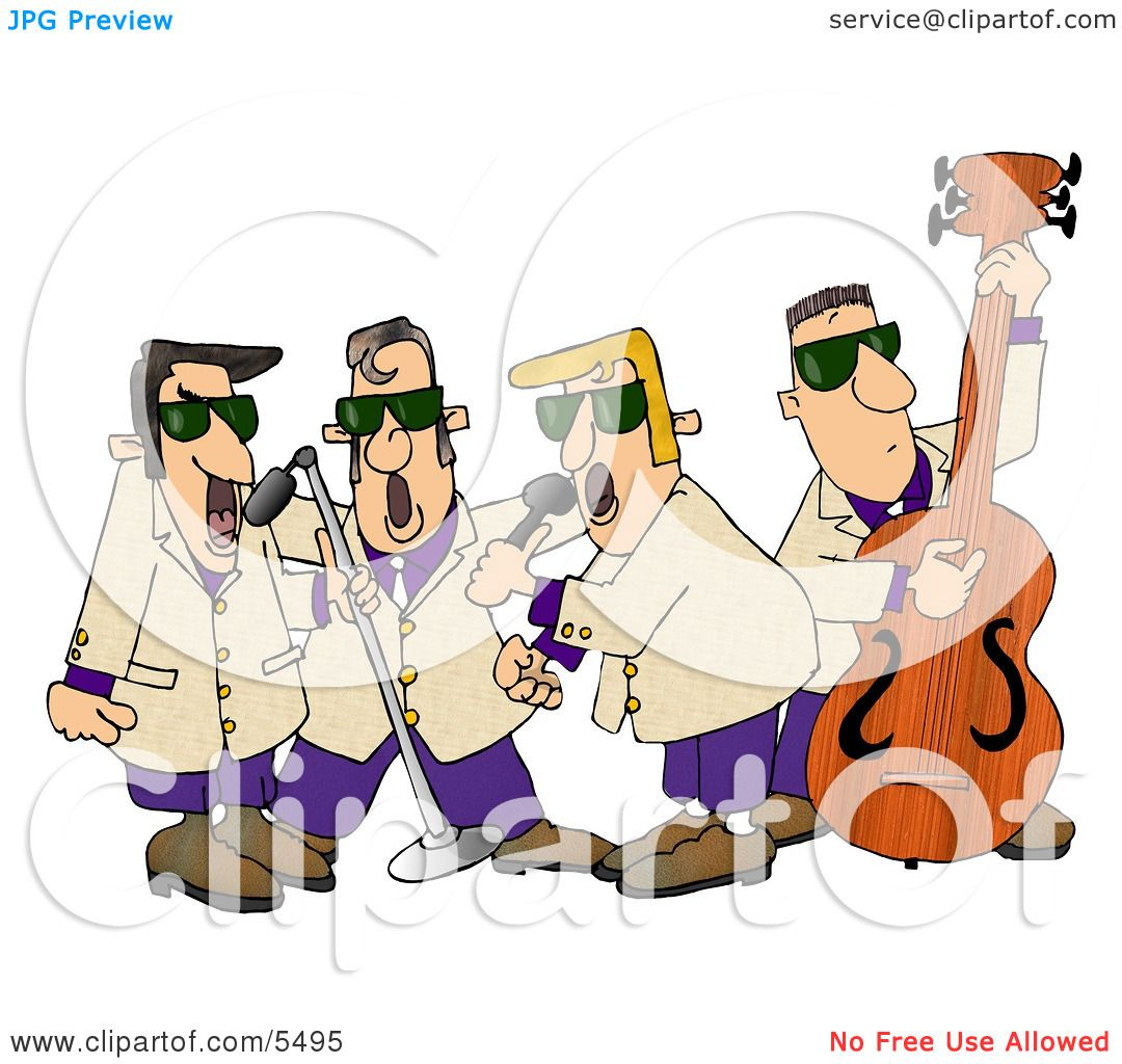 Musicians Playing 1950 39 S Style Blues Music Clipart Illustration By Djart 5495
