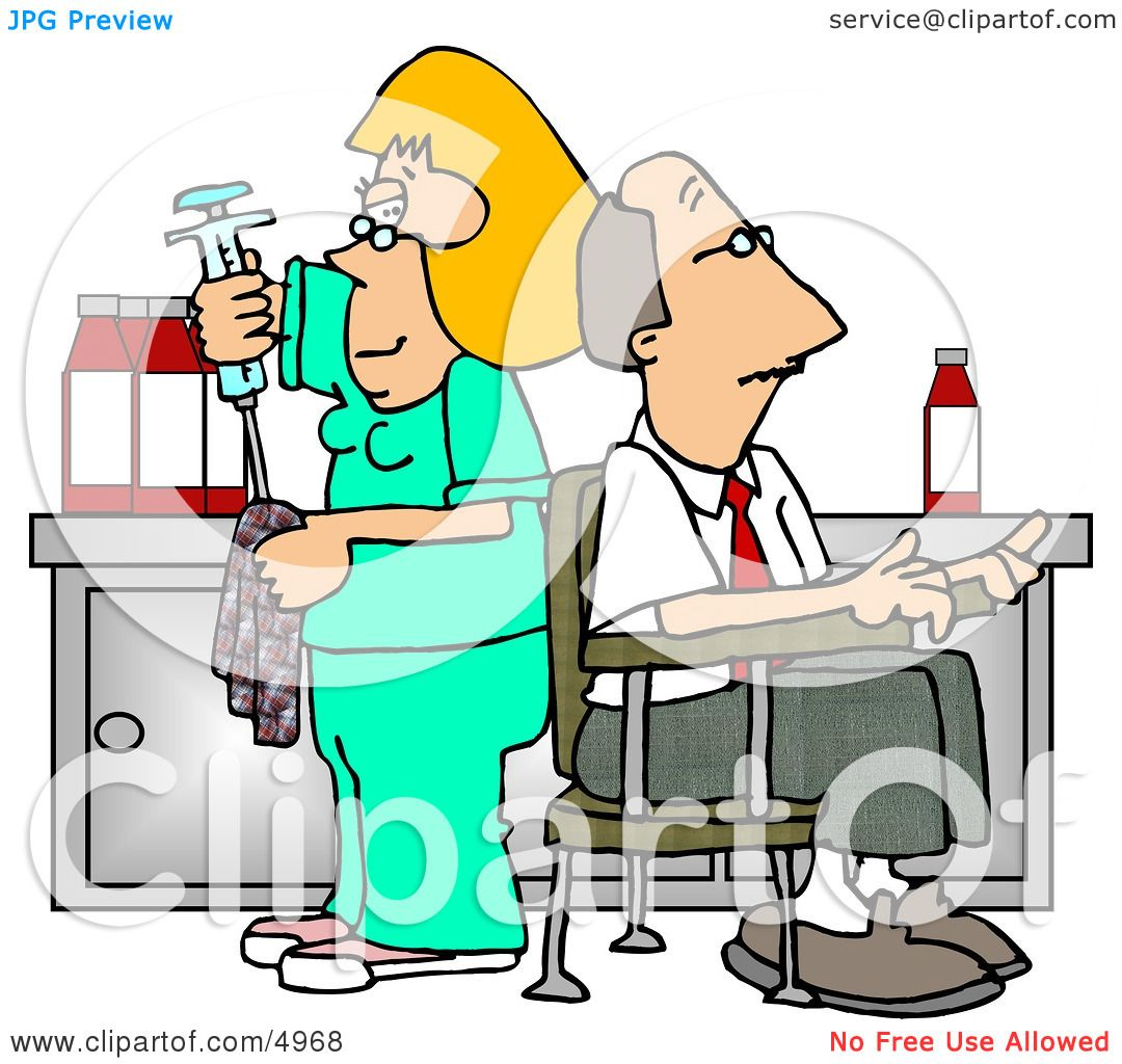 Nurse Cleaning Needle After Drawing Blood Samples from ...