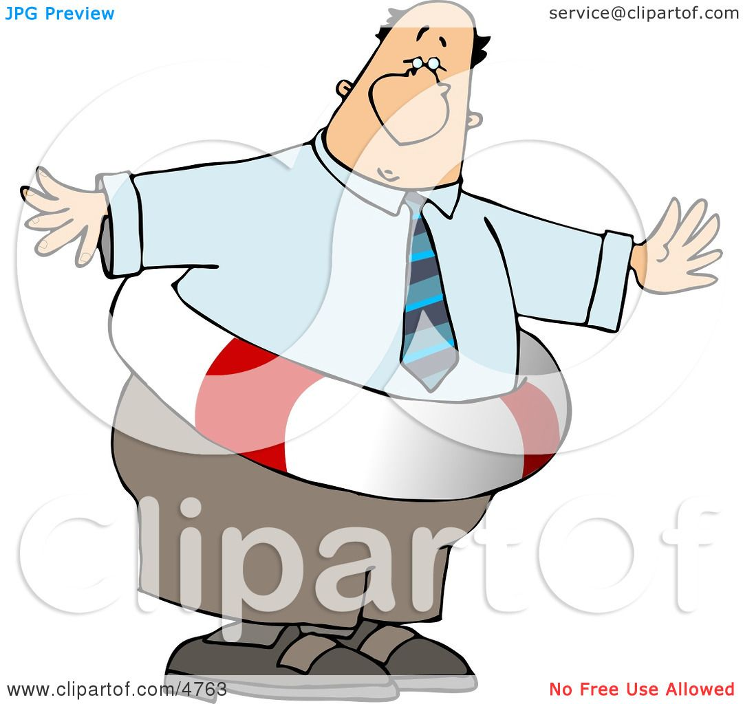 obese businessman wearing a life preserver clipart by djart 4763. Black Bedroom Furniture Sets. Home Design Ideas