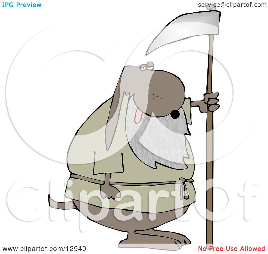 Old Dog With a Gray Beard, Holding a Scythe Clipart Illustration ...