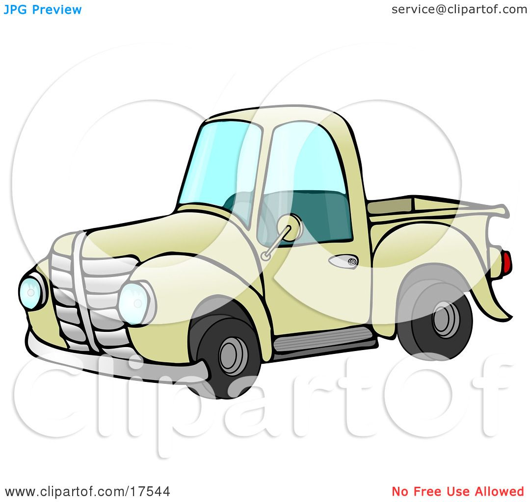 Old Fashioned Yellow Pickup Truck Clipart Illustration by djart #17544