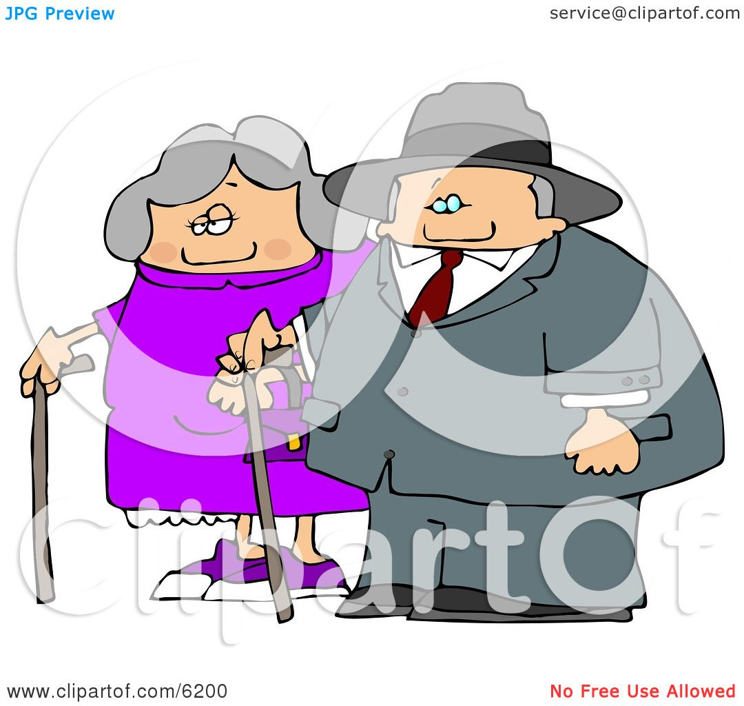 Old Man And Old Woman Walking Side By Side While Using Canes Clipart